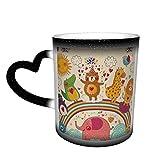 Tazza in ceramica con elefante nero, con pinguino, orso, cervo, dinosauro che cambia colore, in The Sky