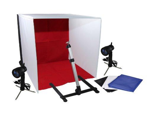'24'x 24/60cm x 60cm Kit para cámara sin Sombras, Photobox, Cube luz: 1Mini Tienda Studio, 2lámparas, 4Fondos (Rojo, Color Blanco, Azul Negro), 1trípode para cámara, Bolsa de Transporte.