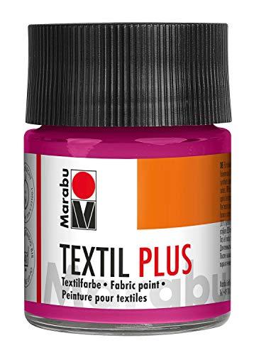 Marabu 17150005005 Textil Plus - Colore Coprente per Tessuti Scuri, Adatto per Pittura e Stampa su Tessuto, Dopo Il Fissaggio, Lavabile Fino a 40°C, 50 ml, Lampone