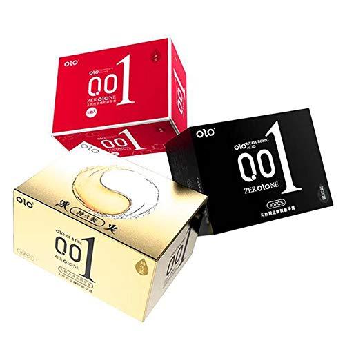 QLGRXWL Condones Condones Ultrafinos Lubricados con Ácido Hialurónico De Larga Duración Productos para Adultos (3 Cajas * 30)