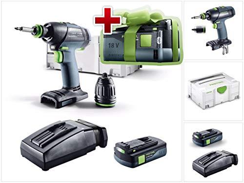 Ahora con batería gratis: Festool T 18+3 Li-Basic Taladro atornillador de batería 18 V 50 Nm sin escobillas + 1 batería de 3,1 Ah + cargador + caja