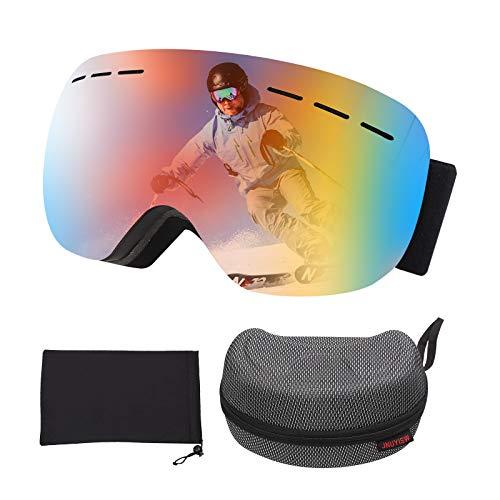 JNUYISW Gafas de esquí, Gafas protectoras Lente esférica de doble capa, Gafas de snowboard OTG a prueba de viento UV400 Antivaho y antirreflejo para hombres para hombres mujeres jóvenes adultos (rojo)