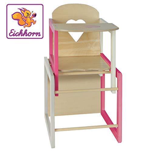 Eichhorn 100002595 - Puppenhochstuhl mit Tisch geeignet für Puppen von 35-49cm, Größe: 30x30x57cm, Buchenholz