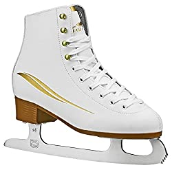 in budget affordable Lake Placid Cascade Women's Figure Skating, White / Gold Accent, Size 6