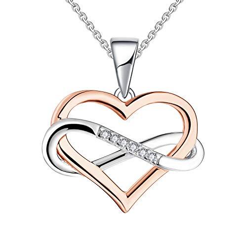 JO WISDOM Collares Colgante Plata de ley 925 Corazón Infinito Cristales Swarovski 3A Circonita Mujer Joyería con baño de Oro Rosa