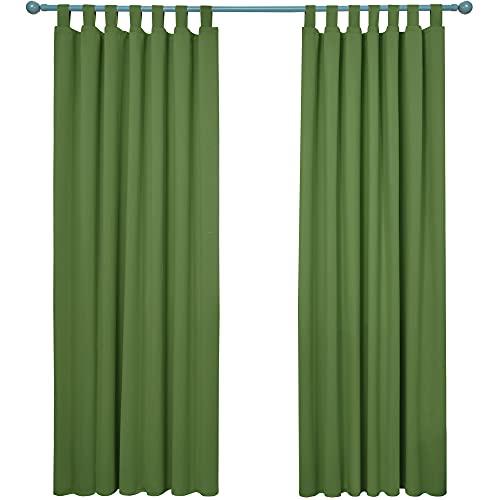 Deconovo Cortinas Opacas de Salon para Ventanas Suave Moderna 2 Piezas 132 x 214 cm Verde