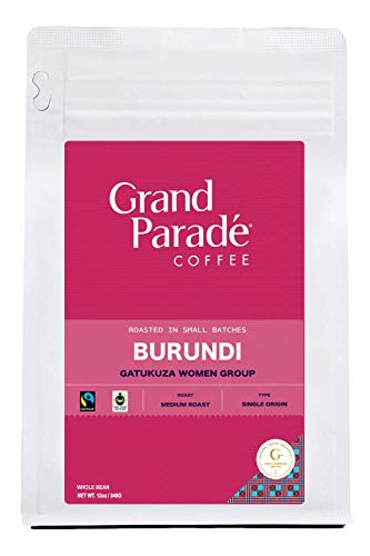 Grand Parade Coffee, Burundi Medium Roast, (12oz.) Whole Bean, Fresh Roasted Gourmet Single Origin, Women Produced, African Arabica Coffee, Fair Trade, 12-ounce Bag