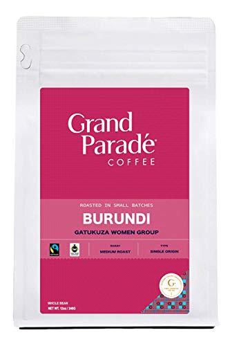Grand Parade Coffee, Burundi Medium Roast, (12oz) Whole Bean, Fresh Roasted Gourmet Arabica Coffee, Women Produced Single Origin, Fair Trade, 12-ounce Bag