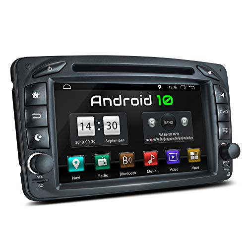 XOMAX XM-07ZA Autoradio mit Android 10 passend für Mercedes Viano CLK Vito, 4Core, GPS Navigation, DVD, CD I Support: WiFi, 4G, DAB+, OBD2 I Bluetooth, 7 Zoll / 18 cm Touchscreen, USB, SD