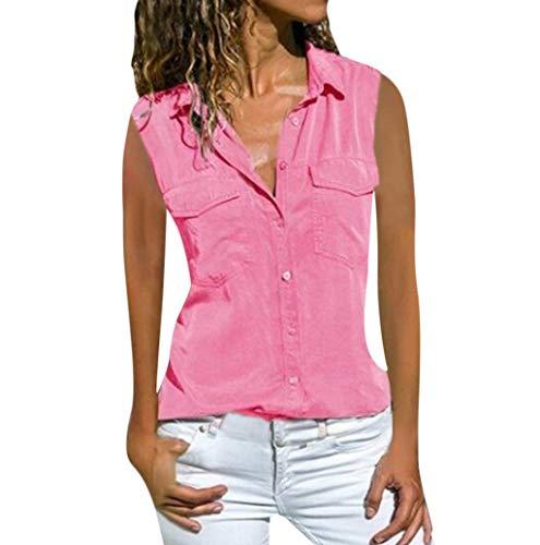 TWBB Bluse Damen Sommer V-Ausschnitt Oberteile Top Slim Fit Einfarbig Ärmellos Blusen Shirt Locker Knopfleiste Tank Tops Weste für Frauen