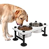 MyGift Vintage White Wood & Industrial Metal Elevated Double Pet Feeder Stand with 2 Stainless Steel Bowls