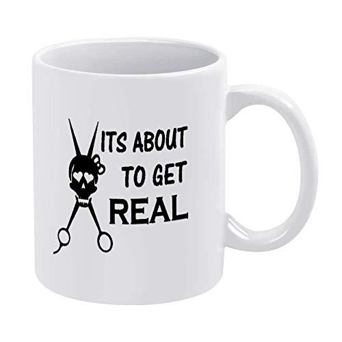 Obtenga una taza de café con tijeras de calavera real, taza de cerámica para peluquería, taza para bebidas de té, para el hogar y la oficina, cumpleaños, aniversario, Halloween, Navidad, San Valentín,