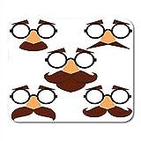 Spiel-Mausunterlage Brown lustiger Verkleidungs-Masken-Augenbrauen-Gläser und Schnurrbart 25X30 cm...
