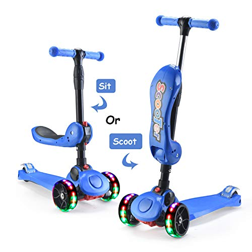 AOODIL Scooter for Kids 3-5 Years Old with Foldable Seat Extra-Wide PU Wheels with LED Flashing Kick Scooter for Toddlers Boys & Girls