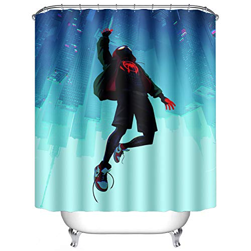 AWRFYAFT Spiderman Shower Curtain Waterproof Polyester Fabric 12 Pack Plastic Hooks 60X72 Inches