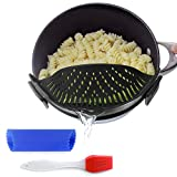 Clip-On Kitchen Food Strainer for Spaghetti, Pasta, & Ground Beef Grease, Colander & Sieve Snaps on Bowls, Pots and Pans, Set includes Silicone Strainer, Brush & Garlic Peeler by Salbree (Black)