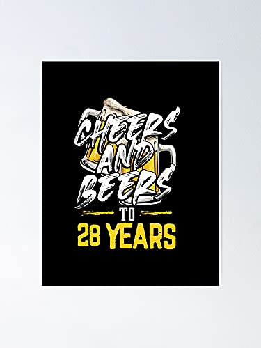 AZSTEEL Cheers and Beers to 28 Years Long Sleeve T-Shirt Trending Shirt for Women Poster Best Gift for Mothers Day