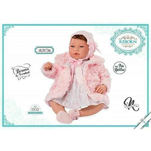 Muñecas Guca- Reborn Valentina Vestido Estampado Flores Abrigo Rosa Y Capota, (10032)