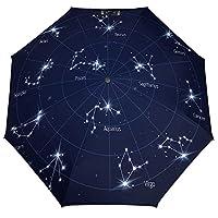 日傘兼用雨傘 星座イラスト 折り畳み傘 台風対応 梅雨対策 収納ポーチ付き 自動開閉 メンズ レディース 携帯しやすい