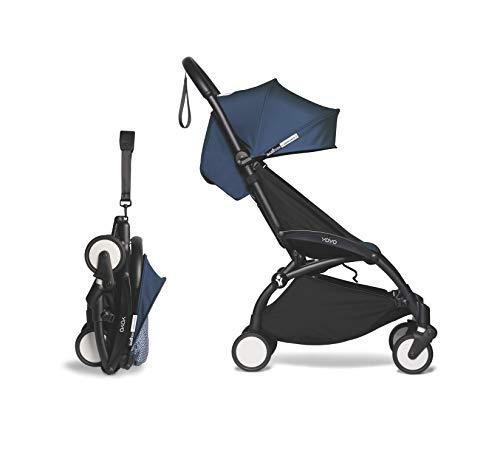 BABYZEN YOYO2 6+ Stroller - Black Frame with Air France Blue Seat Cushion & Canopy