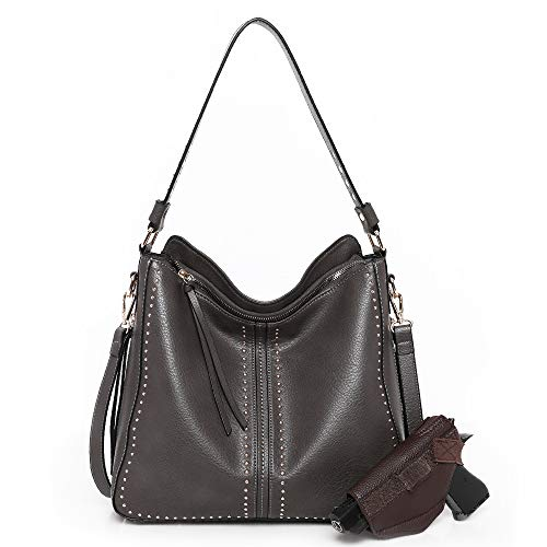 Montana West Concealed Carry Purses and Handbags For Women Pistol Top Handle Tote Dark Grey CW-MWC-G1001 D.GY