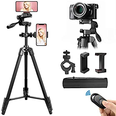 Lusweimi Tripod for iPhone/Camera, 55-Inch Selfie Phone Tripod Stand with Bluetooth Remote&2 Phone Holders, Aluminum Lightweight Tripod Bag for Video/Vlog/Photography/Nikon/Canon/Sony Mirrorless from Superflash Photographic Equipment Co., Ltd