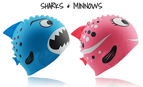 Start Smart Kids Fun Silicone Swim Cap for Boys and Girls - Sharks & Minnows (Pink)