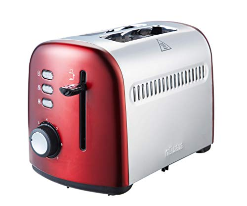 MyWave MWTOS-CD Toaster Kurzer Doppelschlitz, Edelstahl, Leistung 950 W, 7 Toaststufen, Krümelschublade, Rot