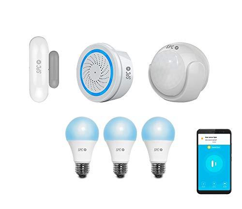 SPC 6908K2 Security Starter Kit 2: 2 sensores (Movimiento y Puertas/Ventanas), Alarma y 3 Bombillas Inteligentes Wi-Fi LED Color y Blanco cálido Sirius 470, Compatible con Amazon Alexa y Google Home