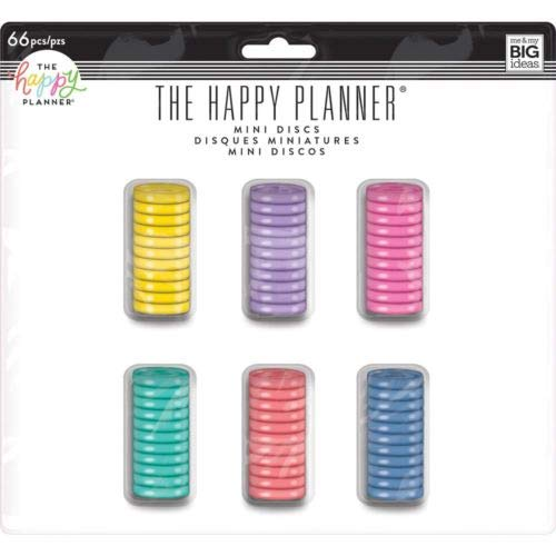 me & my BIG ideas Plastic Mini Discs Value Pack, Multi-Color - The Happy Planner Scrapbooking Supplies - Add Extra Pages, Notes & Artwork - More Space for Notebooks & Journals - 66 Pieces