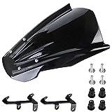 Windschild Motorrad Windschutzscheibe, Motorrad Windschutzscheibe Verkleidungsscheibe mit Befestigungswinkel für MT-07 15-18