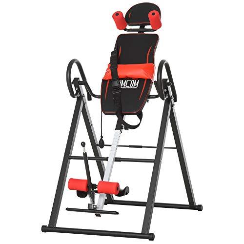 HOMCOM Table d'inversion de Musculation Pliable Ceinture de sécurité réglable Angle inversé Ajustable 3 Niveaux Acier Rouge Noir