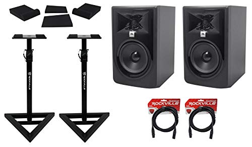 (2) JBL 305P MkII 5' Powered Studio Reference Monitors+Stands+Pads+XLR Cables