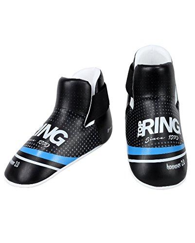 Top Ring Calzare Hammer 2.0 - Parapiede per Point Fighting Kickboxing, Taekwondo - in Ecopelle - Colori Bianco, Blu, Nero, Rosso (Nero/Blu, XL)