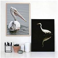 Muzimuzili動物の風景画長いくちばしの渡り鳥アートキャンバス絵画リビングルーム廊下バー家の装飾壁画-40X60Cmx2Pcs非フレーム