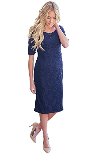 Mikarose June Modest Pencil Dress In Navy Blue Lace