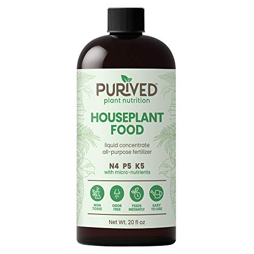 Purived Liquid Fertilizer for Indoor Plants | 20oz Concentrate | Makes 50 Gallons | All-Purpose Liquid Plant Food for Potted Houseplants