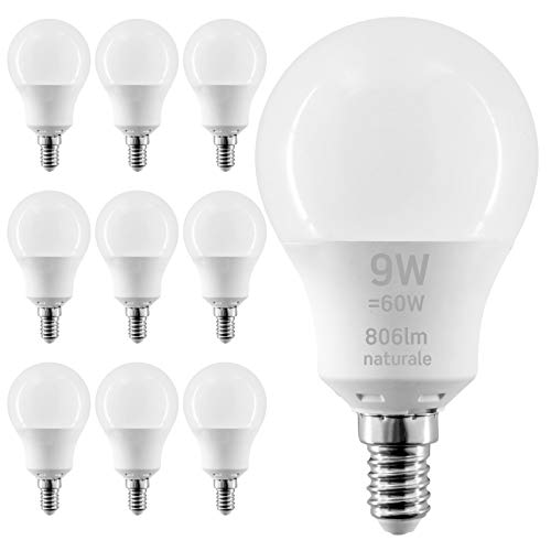 10 x Lampadine LED E14 9W Professionali Garanzia 5 anni Opaca (806 lumen equivalenti a 60W) - Forma: Goccia A60 - Luce Bianco Naturale 4000K - Fascio Luminoso 200°