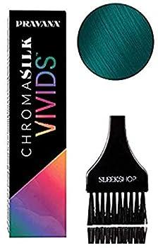 Pravana ChromaSilk VIVIDS Hair Color Shades with Silk & Keratin Amino Acids Dye  with Sleek Brush  Haircolor  Green
