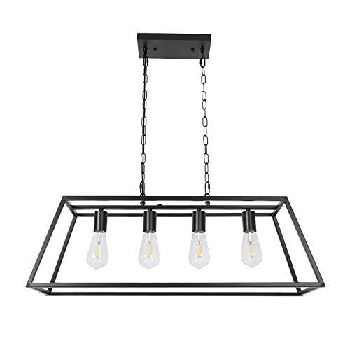 Black Modern Kitchen Island Lighting Farmhouse Chandelier Industrial Ceiling Light Fixtures for Kitchen, Dining Room, Living Room, Bar, Foyer (4-Light)