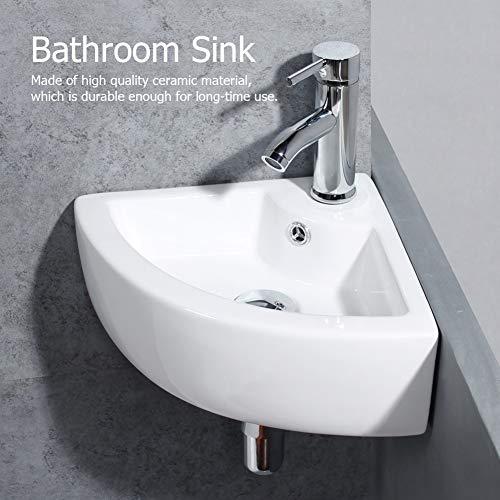 GOTOTO Waschbecken, für Badezimmer, dreieckig, aus Keramik, Spüle, Handwaschbecken, Eckwaschbecken, modernes Design, Weiß, 33 x 33 x 13 cm, für WC Vestiaire Badezimmer