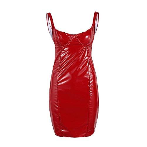 PANZET Sexy Frau Kleid, Sexy Frau Enges Kleid Latex Dessous Lederkleid,Rot,Medium
