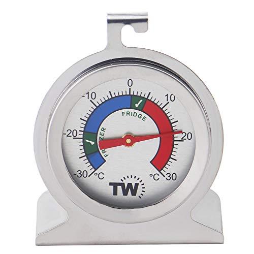 Termometro per congelatore o frigorifero, realizzato in acciaio inox, con zone di conservazione consigliate per alimenti refrigerati.