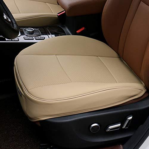 MEYLEE Cuscino del Sedile Auto, Avvolgimento del Bordo Anteriore del Sedile Cuscino del Pad per Tappetino per Auto Forniture Sedia da Ufficio con PU in Pelle,Cream