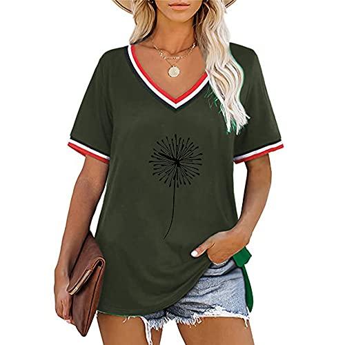 Camiseta de Diente de león para Mujer Casual Suelta con Cuello en V Estampado de Color sólido Camisetas de Manga Corta Blusas Tipo túnica Camisas de Talla Grande Verano Multicolor Jersey de Ocio