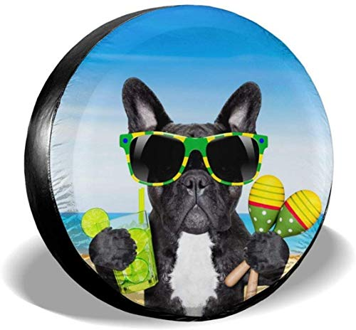 MODORSAN Brasil Bulldog francés Perro Rueda de Repuesto Cubierta de neumático de poliéster Cubiertas de Rueda universales para Jeep, Remolque, RV, Todoterreno, camión, Accesorios, 16 Pulgadas