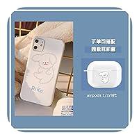 Euiwq 韓国の白い犬IphonexsMax携帯電話ケースソフト11XXRかわいい6S女性78plusに適しています-gray lines dog-7p