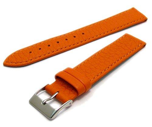 Super Soft Cow Hide Leder Uhrenarmband von Condor orange 18mm breit, Chrom (Silber Farbe) Schnalle 348r.19