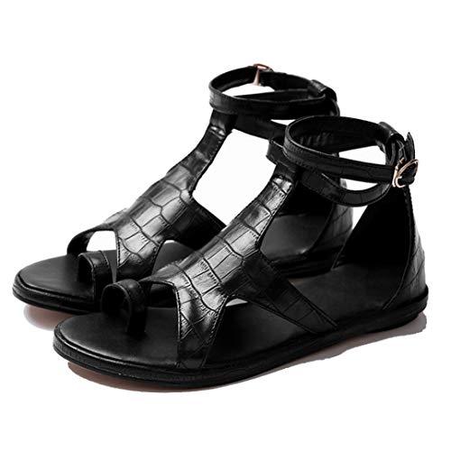 Sandalias Planas para Mujer Calzado De Verano De Tacón Bajo Peep-Toe Calzado Vacaciones Playa Casual Señoras Zapatos con Correa De Hebilla De Tobillo