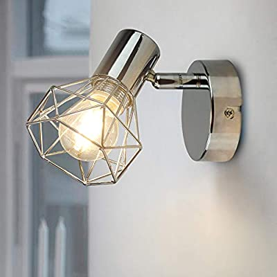 DLLT Modern Ceiling Spotlight, Adjustable 1 Head Track lighting, Industrial Muti-Directional Wall Lamp Fixture for Picture, Hallway, Kitchen Sink, Bedside, Warm Light, Silver, E12 Bulb (Bulb Included)